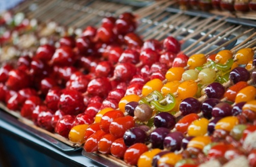 Candied fruit that looks like food fit for a fairy tale. It's available very easily as street food